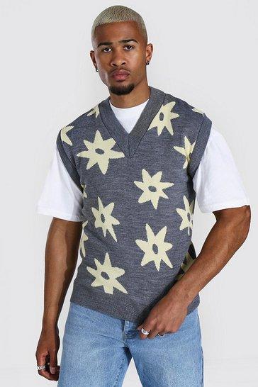 Grey Knitted V Neck All Over Daisy Vest