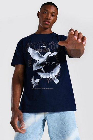 Navy Loose Official Dove Print T-shirt