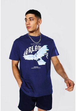 Navy Loose Worldwide Dove Print T-Shirt