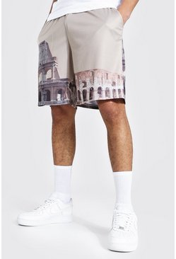Stone beige Loose Fit Mesh Scenic Print Basketball Shorts
