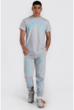 Grey marl grey Oversized Official Print T-shirt & Jogger Set