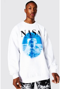 Oversized Nasa Astronaut License Sweatshirt, White weiß