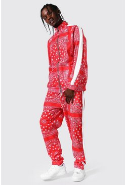 Red All Over Bandana Print Funnel Neck Tracksuit