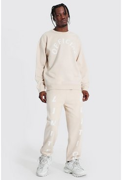 Oversized Official Print Sweater Tracksuit, Sand Бежевый