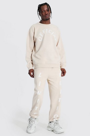 Sand beige Oversized Official Print Sweater Tracksuit