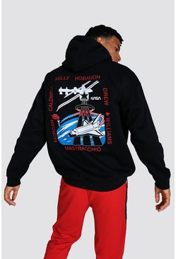 Black Oversized Nasa License Hoodie
