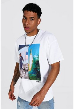Oversized Spliced Nasa License T-shirt, White blanco
