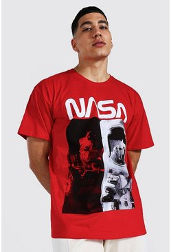 Red Gelicenseerd Oversized Gesplitst Nasa T-Shirt