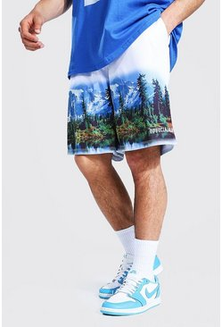 White vit Loose Fit Mesh Scenic Print Basketball Shorts