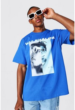Oversized Spliced Wiz Khalifa License T-shirt, Blue Синий