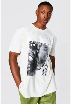 Sand beige Oversized Spliced Wiz Khalifa License T-shirt