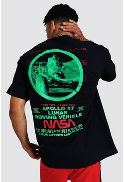 Black Oversized Nasa Back Print License T-shirt