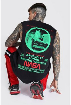 Oversized Nasa Back Print License Tank, Black nero