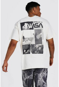 Sand beige Oversized Nasa Back Print License T-shirt