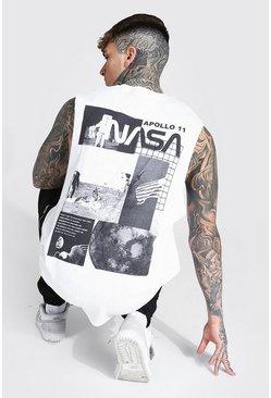 White Oversized Gelicenseerde Nasa Tank Top Met Rugopdruk