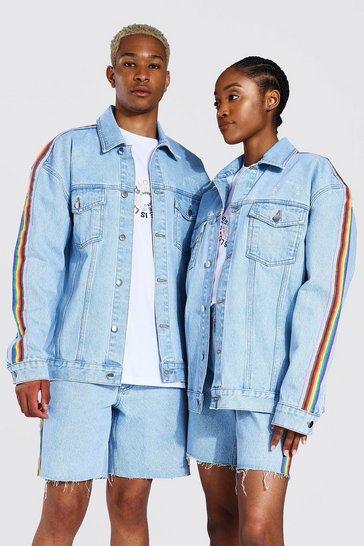 Blue Pride Oversized Rainbow Tape Denim Jacket