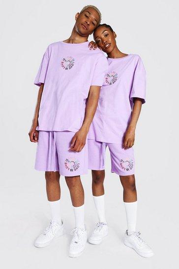 Lilac purple Pride Love Is Love Circle Print T-shirt