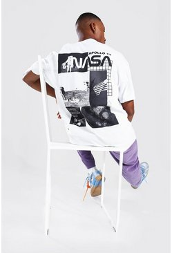 White Oversized Nasa Back Print License T-shirt