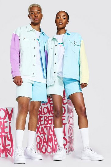 Multi Pride Oversized Colour Block Denim Jacket