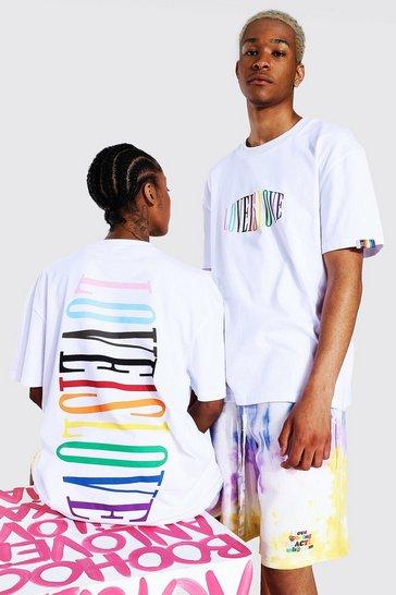 White Pride Love Is Love Text Print T-shirt