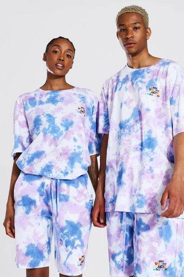Purple Pride Tie Dye Who I Am Text Print T-shirt