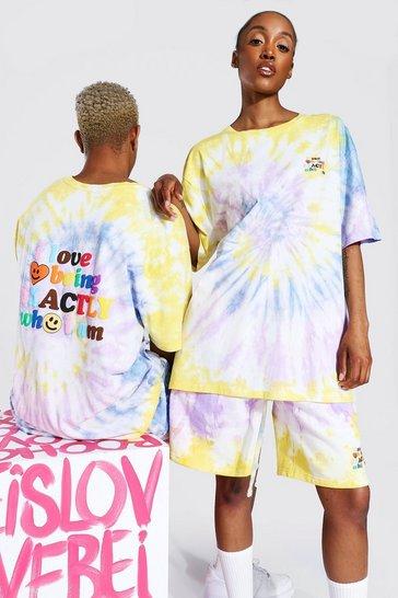 Multi Pride Tie Dye Who I Am Text Print T-shirt