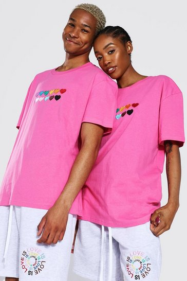Pink Pride Rainbow Heart Embroidered T-shirt