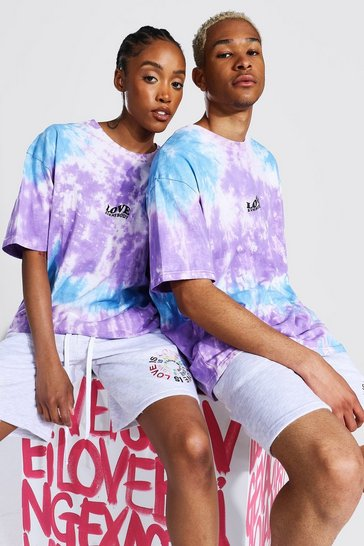 Purple Pride Tie Dye Love Everybody Print T-shirt