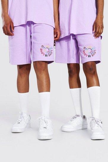 Lilac purple Pride Love Is Love Circle Print Jersey Short