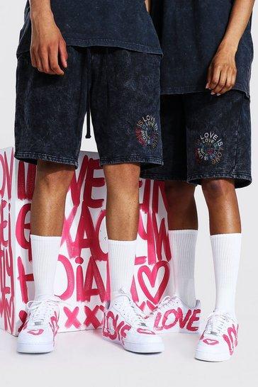 Charcoal grey Pride Acid Wash Love Is Print Jersey Short