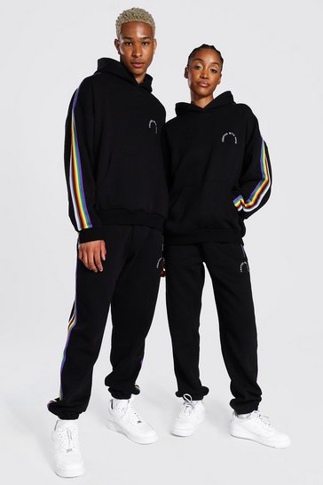 Black Pride Hooded Tracksuit With Tape Detail