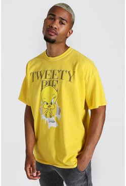 Yellow Oversized Tweety Pie Overdyed License T-shirt