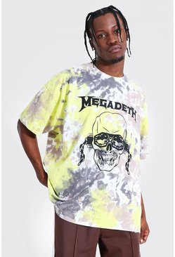 Yellow Oversized Megadeth Tie Dye License T-shirt