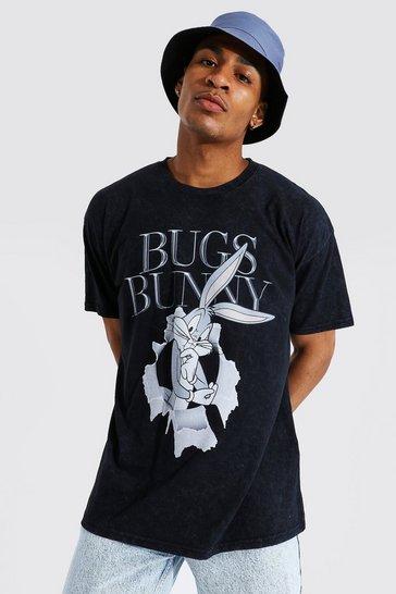 Charcoal grey Oversized Bugs Bunny Acid Wash T-shirt