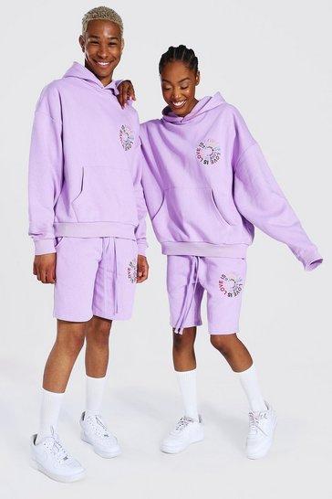 Lilac purple Pride Love Is Love Short Hooded Tracksuit