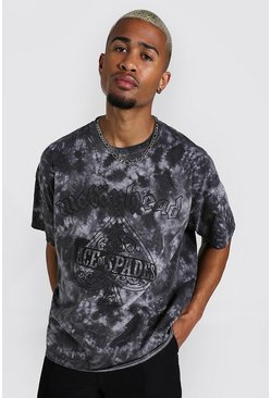 Grey Oversized Motorhead Tie Dye License T-shirt