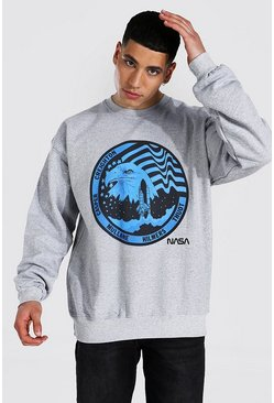Grey marl grey Oversized Nasa License Sweatshirt