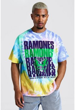 Purple Oversized Ramones Tie Dye License T-shirt
