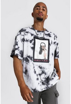 Grey Oversized Aaliyah Tie Dye License T-shirt