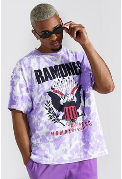 Oversized Ramones Tie Dye License T-shirt, Purple viola