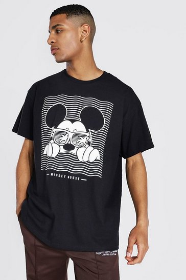 Black Oversized Mickey Mouse License T-shirt