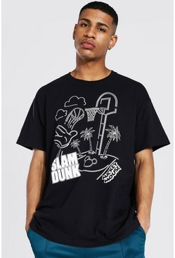 Black Oversized Mickey Slam Dunk License T-shirt