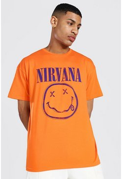Oversized Nirvana Face License T-shirt, Orange naranja