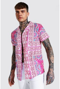 Short Sleeve Baroque Print Shirt , Pink rosa