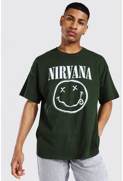 Bottle green green Oversized Nirvana Face License T-shirt