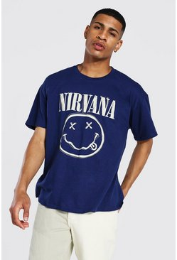 Navy Oversized Nirvana Face License T-shirt