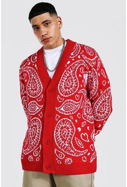 Red Bandana Knitted Cardigan
