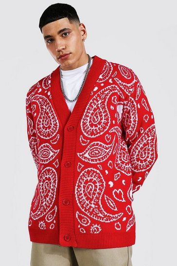 Red Bandana Knitted Cardigan
