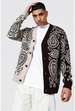 Stone beige Spliced Bandana Knitted Cardigan