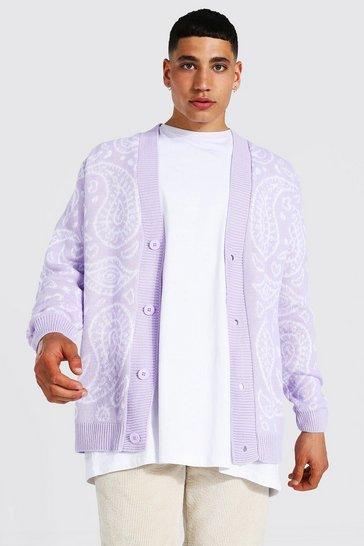 Lilac purple Bandana Knitted Cardigan